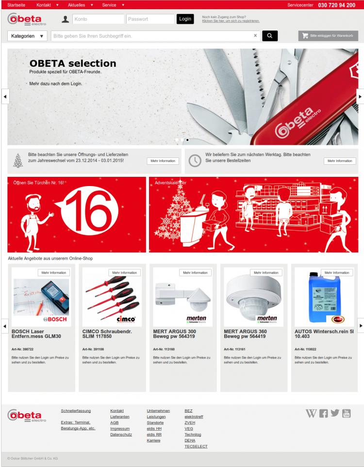 Screenshot OBETA electro Startseite