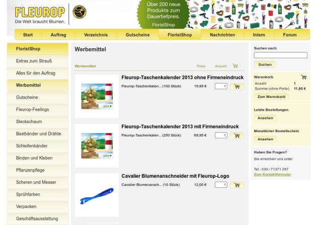 Fleurop FloristShop Artikelliste