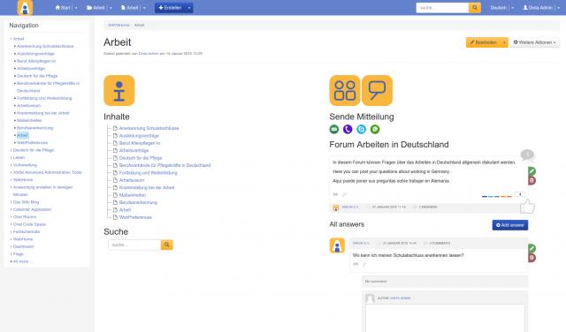 Screenshot DINTA Arbeit Kontakt