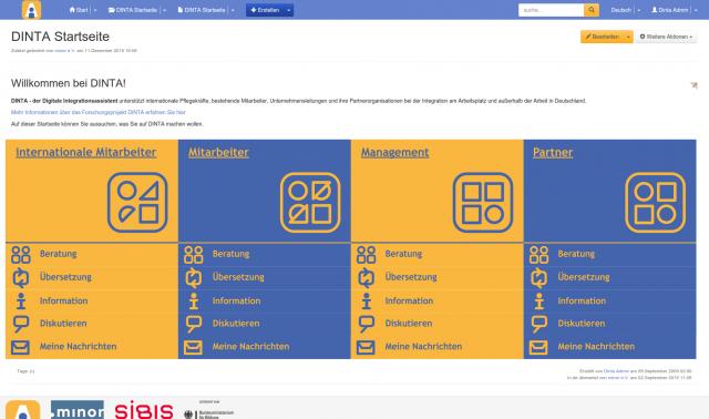 Screenshot DINTA Startseite