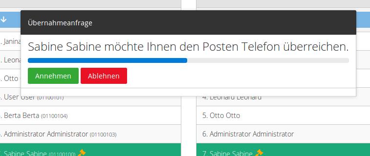 Übernahmeanfrage: Emil kann von Sabine die Telefonvertretung annehmen oder ablehnen