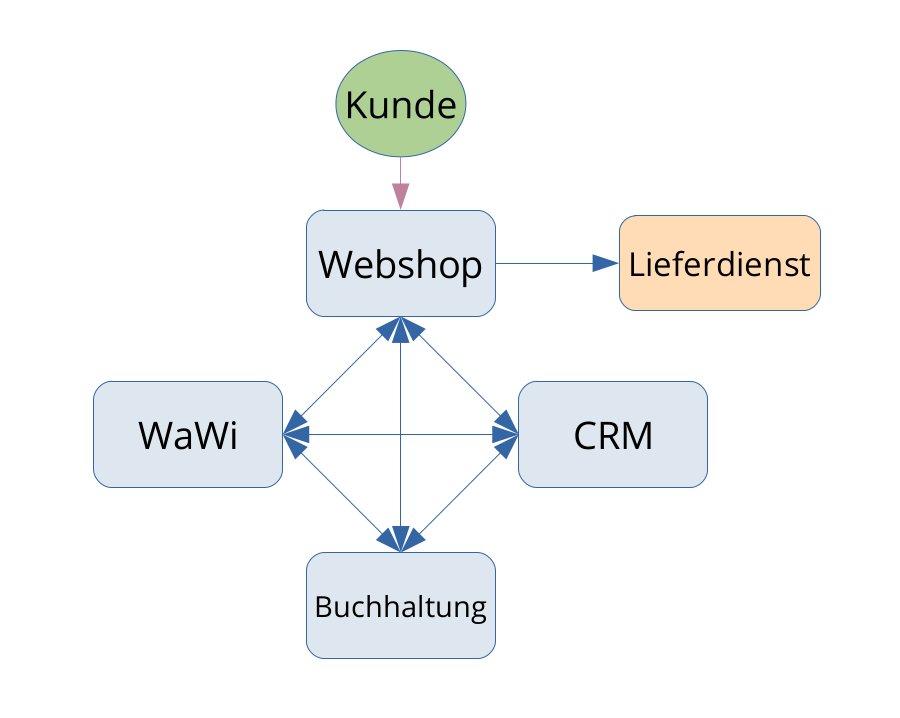 grafische Darstellung der Systemarchitektur ohne eine Middleware